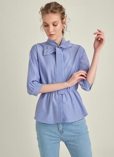 Ng Style Yaka Bağlamalı Çizgili Gömlek İndigo